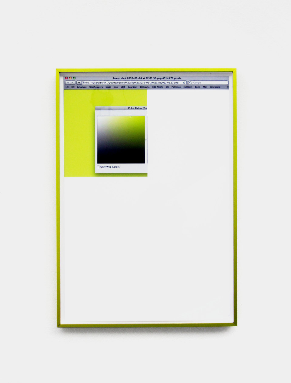 Color Picker 1 2010, Digital print, anodised aluminium frame, (51 x 35.5 cms / 20 1/8 x 14 ins), Cell Project Space