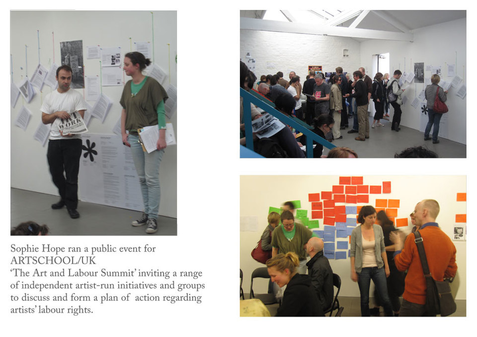 Sophie Hope organises 'Summit for Art & Labour' at ARTSCHOOL/UK 250 people attended to participate