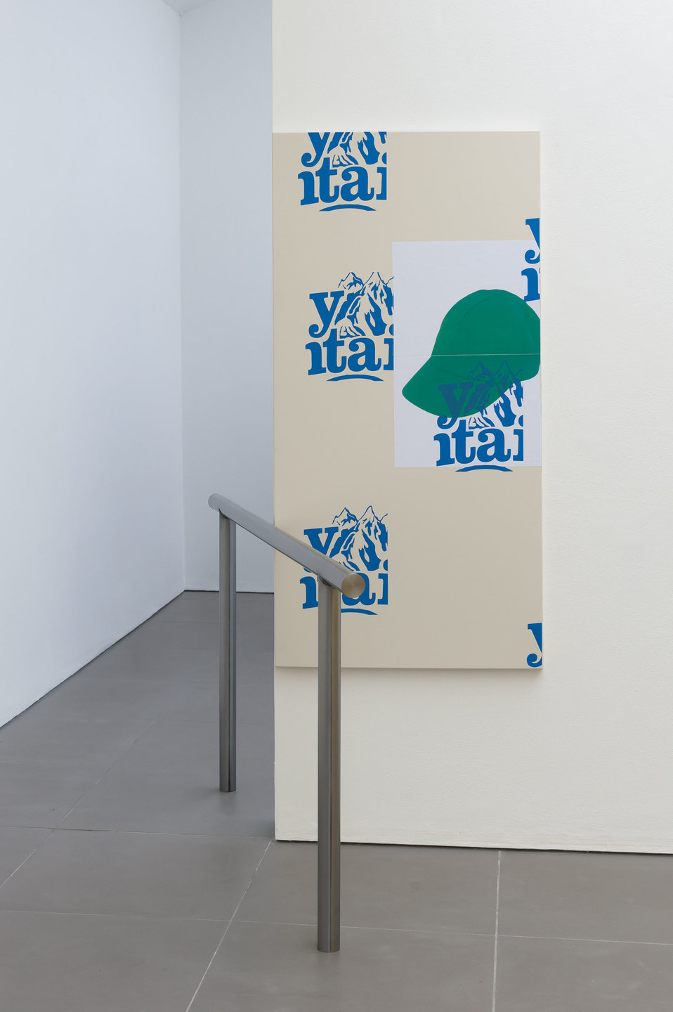 Bryan Dooley, Y-Mountain #3, 2013, Powder coated aluminium, laserjet print, silkscreen print, steel dip bar, bar (140 cm x 70 cm), print (88 cm x 165 cm), Cell Project Space