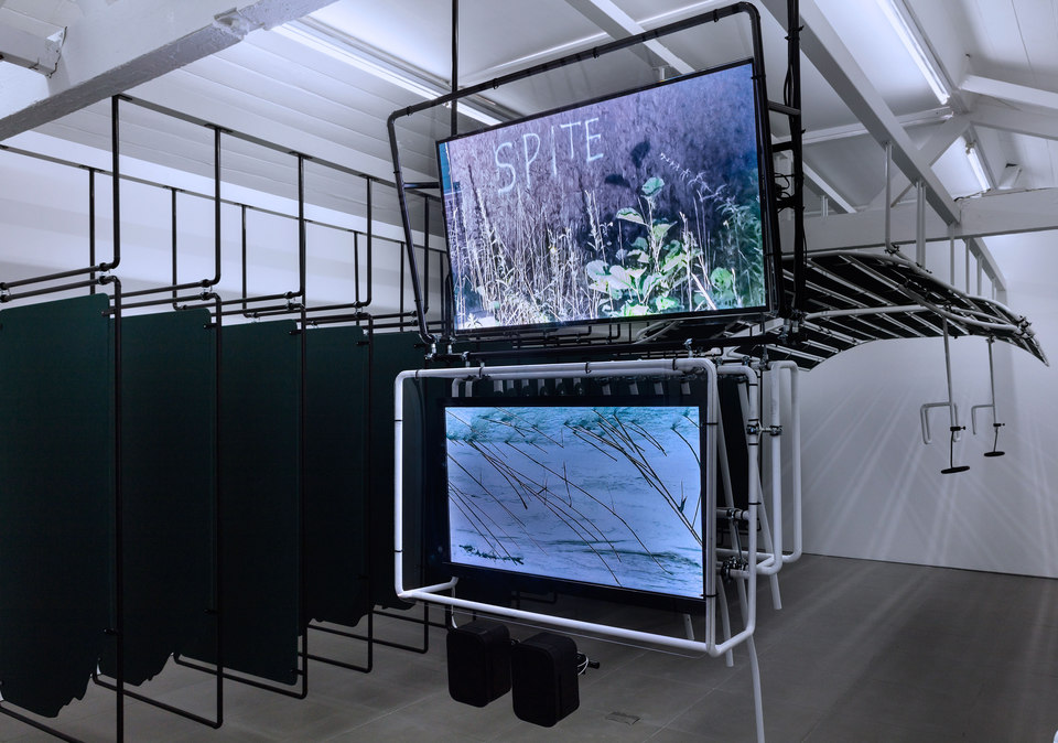 Dan Walwin, Winds 1, 2015 Sculpture, video: Phrase A, video: Phrase B 7 pieces Including 2 Monitors & 1 set of speakers Samsung UE48H6400, Sony Bravia KDL48-HX800 JBL Control 1PRO speakers,  Cell Project Space