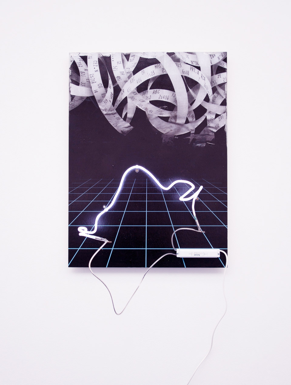 Florian Auer, Not Yet Titled (Ticker Tape), 2013, print on black board, paper, airbrushed paint, neon, transformer, (80 x 59 x 23 cm)