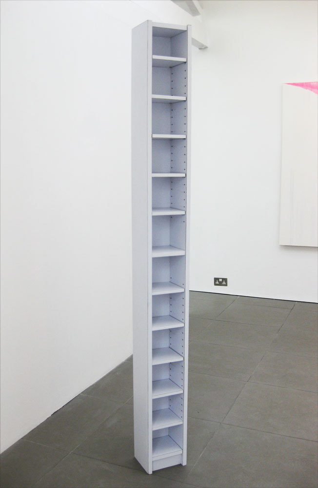 Francesca Nobilucci, Hi Fi 'handmade replica of Ikea Benna Tower CD rack' 2009, Formica, chipboard, graphite pencil, (h.200cm x w.20cm x d.20cm)