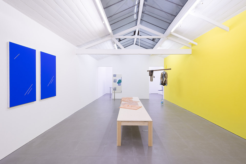 Comrades Of Time, installation view, 2013 from left: Paul Cowan, Bryan Dooley, Nikolas Gambaroff, Bas Van Den Hurk, Marlie Mul  Yellow wall: Paul Cowan, Untitled, 2013, Rose oil and latex paint, dimensions variable