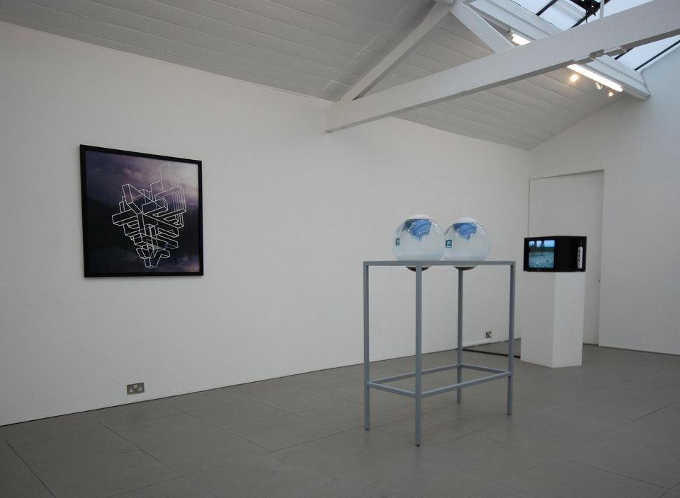 Heather and Ivan Morison 'Earthwalker Eugene 2', 2007, framed photographic print and letraline tape 100cm x 100cm (framed)