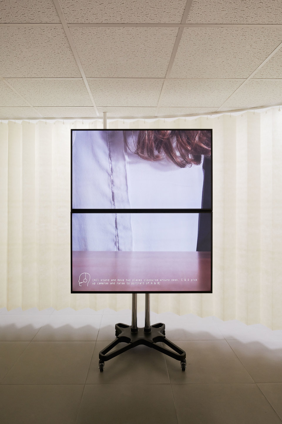 Jos Bitelli, A Partition, 'All Doors and No Exits', two channel 4K digital video, surround sound, mixed media, 2016, Cell Project Space