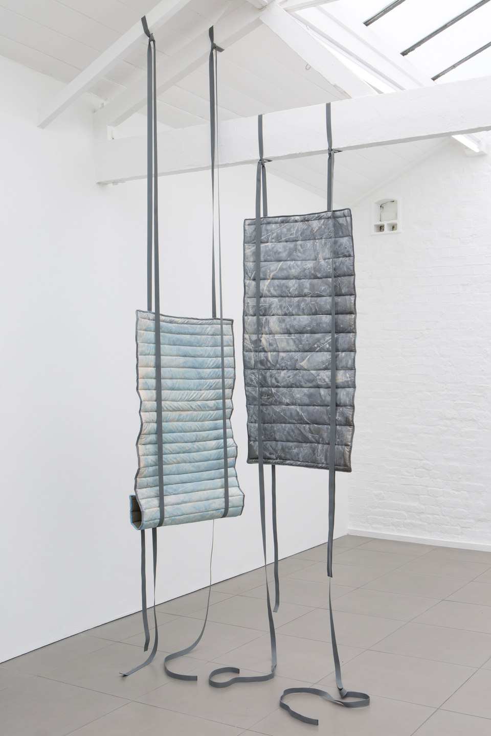 Kate Mackeson & Henrik Potter, 'landlords are not currently collecting rent in self-love', Kate Mackeson, Bullet proof (blue) & Bullet proof, 2016, Cell Project Space