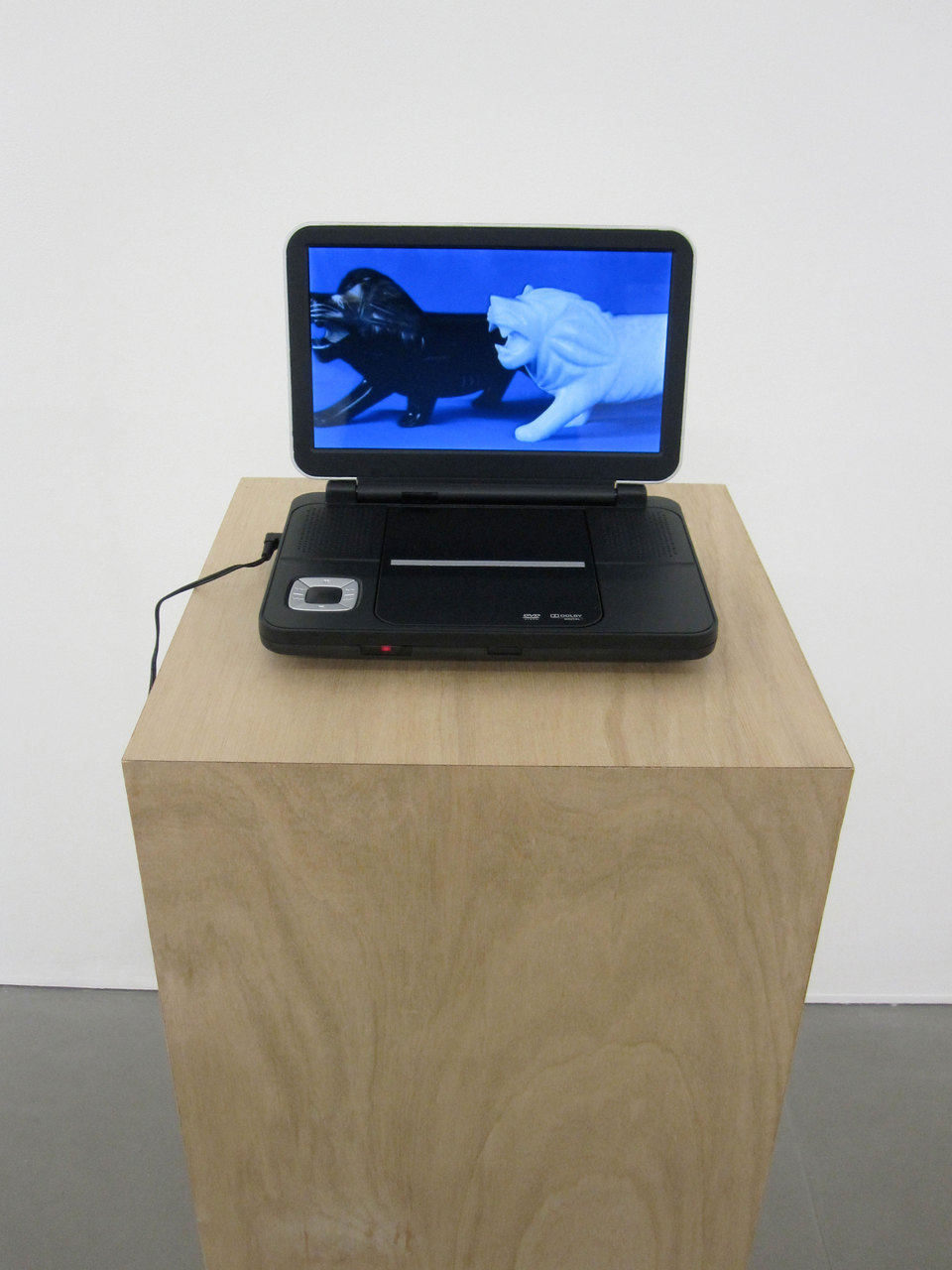 "Maria Taniguchi, 'Part 2: Untitled (Marble Lions)', 2010, 12'08"" looped digital video, dvd player, plywood plinth, plinth (w.360 x d.360mm x h.1000mm), Cell Project Space"