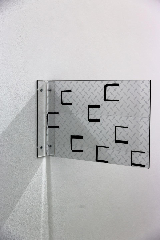 Marte Eknæs, Reboot Horizon, 'Alternative Solutions Diamond Plate', 2013, plexiglass, custom vinyl sticker, diamond plate decal, Cell Project Space