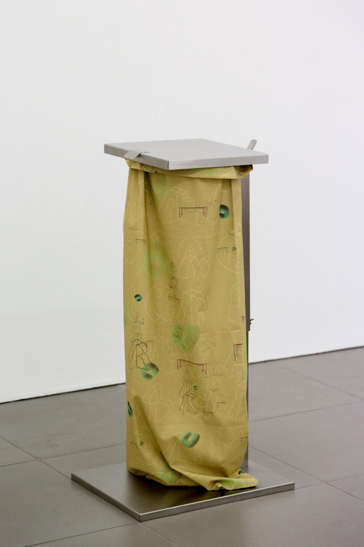 Marte Eknæs, Reboot Horizon, 'Disposal' (featuring Nicolau Verguerio), 2013, steel trash bag stand, custom printed fabric, Cell Project Space