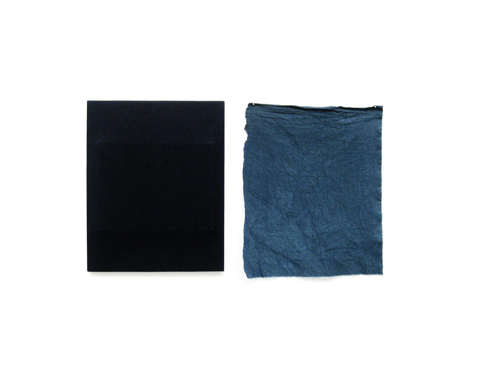Oliver Perkins, Untitled/ Implant/ Dyed/ BL RTG 2009, dye on canvas, (h.50cm x w.40cm), (h.53cm x w.45cm)