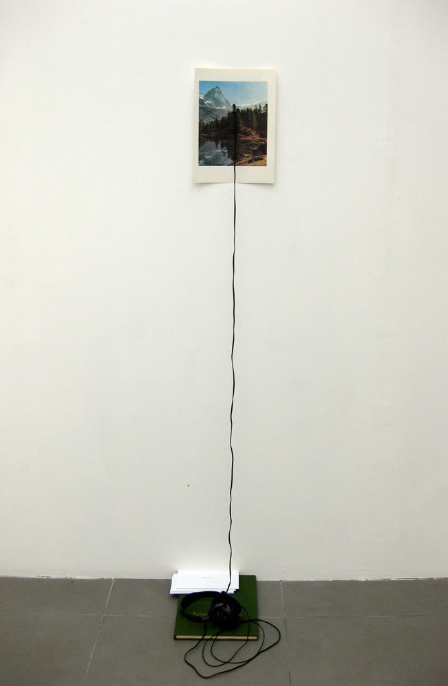 Richard T. Walker 'Everything goes as if it is always away', 2009, found litho print on paper, book, headphones, audio, letters