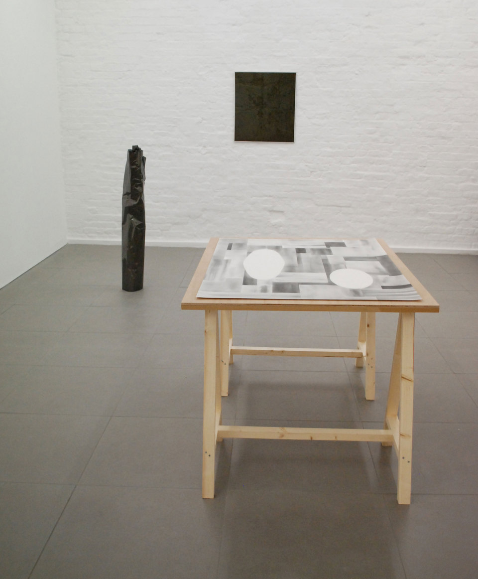 Maria Taniguchi 'Untitled (Mirrors)' 2010, graphite drawing on paper, table (l.1400mm x w.940mm x h.770mm), Cell Project Space