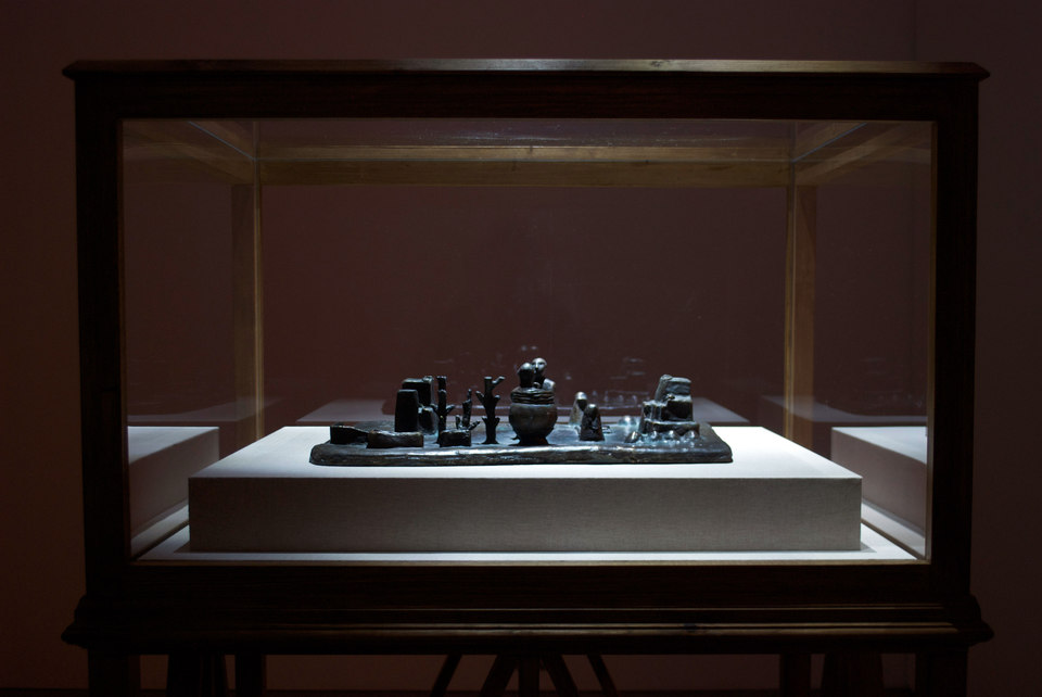 Mark Aerial Waller, 'Reconstruction of a 12th century BC Elamite antiquity, Sit Shamsi', 2012, bronze,(w. 53 cm x h. 12 cm x d. 35 cm) with 'Vitrine', 2012, timber, acrylic, linen, (w. 100 cm x h. 165 cm x d. 79 cm) Cell Project Space